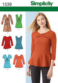 Top Patterns Simple Simplicity 48 Misses' Knit Tunic Or Top And Peplum Tops