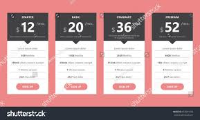 Web Design Package Pricing Pricing Table Template Web Design Business Stock Vector