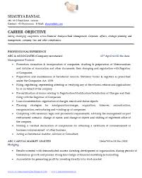 Career Objective On Resume Sample Template of an Excellent Company Secretary Resume Sample 53