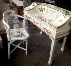 white oriental painted deskk asian office furniture