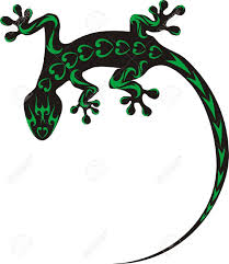 Green And Black Climbing Big Tail Salamander Lizard Tattoo Design