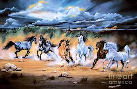 painting painting dream horse series 125 flat bottom river wild horse herd by cheryl