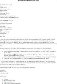 Personal Assistant Cover Letter Example Dew Drops
