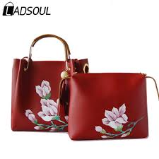 ladsoul handbag chinese style women pu leather handbags lady flower shoulder zipper hand painted girls composite bag a4624 h satchels leather purses from