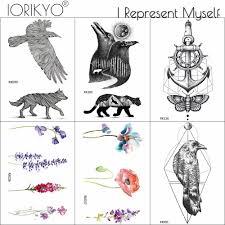 Ioridyo водонепроницаемая татуировка черные птицы ворона женский