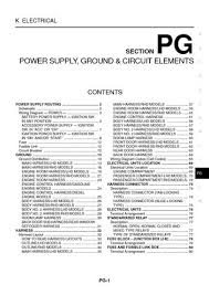 nissan x trail power supply ground circuit elements 2005 nissan x trail power supply ground circuit elements section pg 80 pages