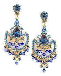 dd crystal chandelier clip earrings blue
