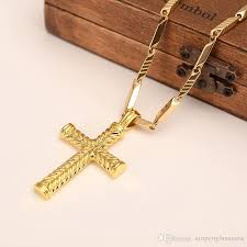 14k solid fine gold gf charms lines pendant necklace men s women cross fashion jewelry factory wholecrucifix gift