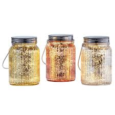 Mini Jar Lights Inside Outside Garden Set Of 3 Glass Jars With Mini Led