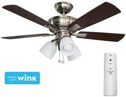 hampton bay ceiling fan light kit led brushed nickel smart remote control 44 in