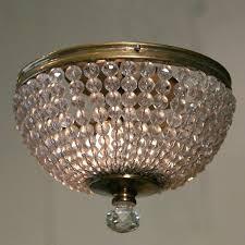 flush mount crystal chandelier pair of vintage french crystal lights 3 nerisa 4 light chrome semi flush mount crystal chandelier
