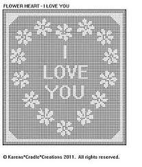 Filet Crochet Patterns Adorable FLOWER HEART I LOVE YOU Filet Crochet Pattern EBay