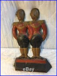 best antique cast iron hubley doorstop art deco anne fish footmen original paint