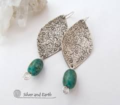 sterling silver earrings with african turquoise stones handmade artisan jewelry