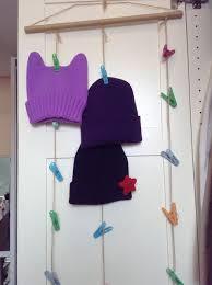 make a hanging hat beanie organizer
