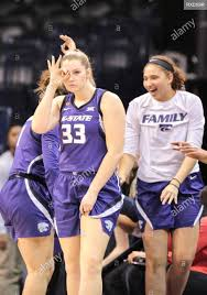 Oklahoma City, OK, USA. 9th Mar, 2019. Kansas State Center Ashley Ray (33)  celebrates a three point score during a Phillips 66 Big 12 Womens  Basketball Championship quarterfinal game between the West