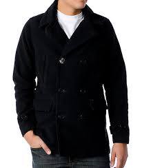 obey decker mens black pea coat