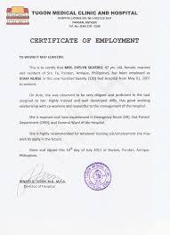 Employment Certificate Sample Fiveoutsiders Com