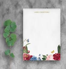 Floral Letterhead Template Instant Downloadable Print Customized Business And Personal Stationary Notepad Template