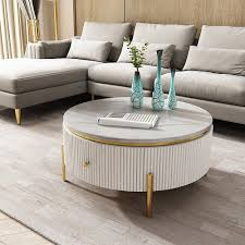 Style comes full circle with our home decoratorsstyle comes full adding stylish flair, each table features a black metal, open drum base augmented with crossing lines that. White Round Coffee Table With Storage Modern Faux Marble Accent Table Stainless Steel In Gold Coffee Tables Living Room Furniture Furniture