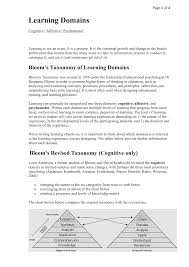 Bloom Taxonomy Of Learning Chart Blooms Taxonomy Learning Domains