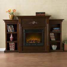 tennyson espresso electric fireplace with bookcases southern enterprises electric