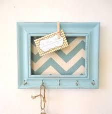 Key Holder Memo board Wall Hook Home Decor - Chevron Frame Organization  Tiffany blue 5 Silver