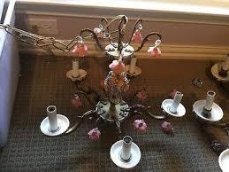 antique vintage spanish brass 8arm and 5 arm ceramic flower chandeliers