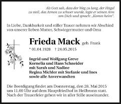 Traueranzeigen von Frieda Mack | www.trauerundgedenken.de