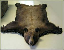 faux bear skin rug with head fur polar