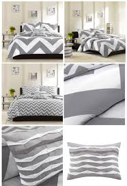 grey white large chevron bedding teen girl twin xl full queen king