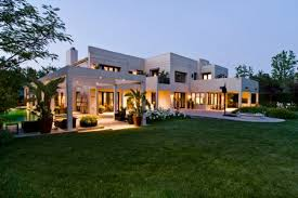 modern large ranch style brick house stock image of luxury