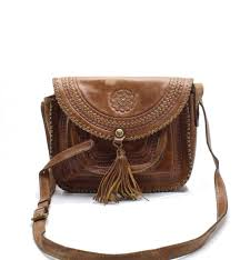 patricia nash brown beaumont distressed leather flap cross bag 199 018
