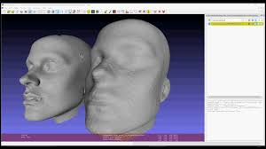 3d scan of a head comparing kinect 2 and gom