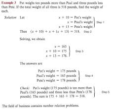 the field of business contains number relation problems