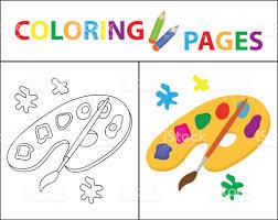 Livre De Coloriage Palette De Peinture Pinceau Version De Contour