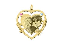 photo engraving pendant with heart and two birthstones gold png