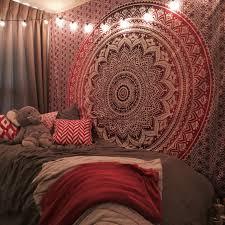 fancy brown hippie bedding with wall decorative pattern round fl design for bedroom interior ideas