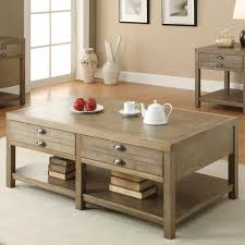 driftwood finish coffee table with drawers elegant tables