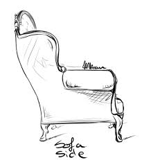 couch drawing side view. sofa \u2013 side view couch drawing
