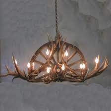 peak wagon wheel elk antler chandelier 10 light