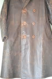 vintage wwi military leather jacket trench coat add to wishlist loading