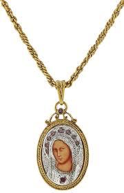 gold silver swarovaski amethyst mother mary medallion necklace