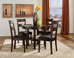 standard 10022 5pc pendwood round dining table with 4 chairs clean casual styling and a