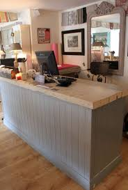 counter at la vie en rose painted in a mix of louis blue and paris grey the countertop is washed in old white bead board paneling for the base