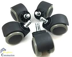 set of 5 office chair casters with non marking firm rubber replacement wheels safe