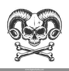 Demon Horn Designs Demons Emblems Collection Skull Art Vector Logo Design