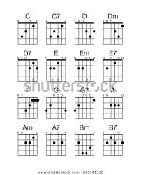 Finger Chart Guitar Notes Collection Group Set Vector Guitar Chords Stock Vector