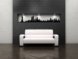 new york skyline wall art on a grey wall and white wall around with brick pattern on new york city skyline wall art with wall art 10 best collection skyline wall art city skyline artwork