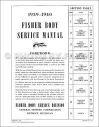 1939-1940 Chevrolet Car Body Manual Reprint